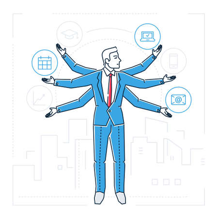Multitasking person design style isolated illustration. Stock Illustratie