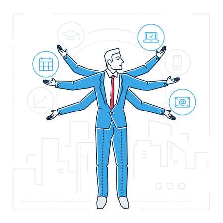 Multitasking person design style isolated illustration. Illustration