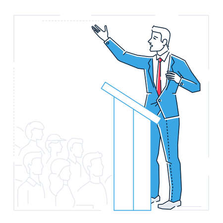 Businessman speaking from a platform - line design style isolated illustration
