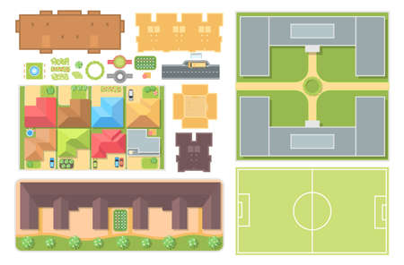 Cityscape elements, set of modern vector objects.