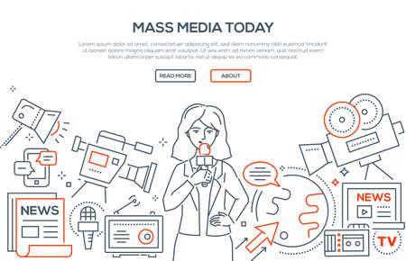 Mass media dzisiaj ilustracja w stylu nowoczesnej linii