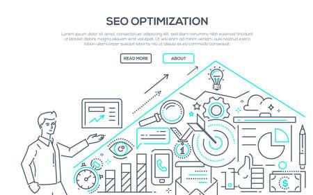 SEO optimization in modern line design style illustration. 向量圖像