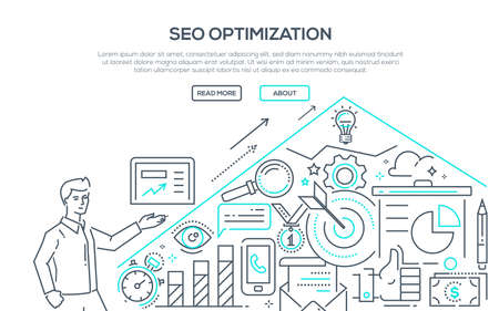 SEO optimization in modern line design style illustration. Illustration