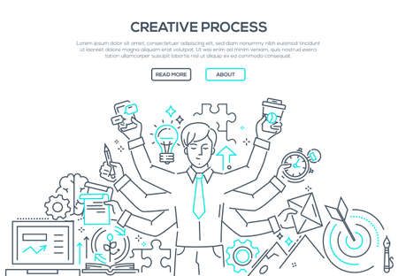 Creative process in modern line design style illustration.