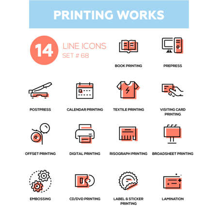Printing works in line design icons set. Stock Illustratie