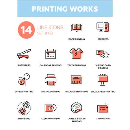 Printing works in line design icons set. Illustration