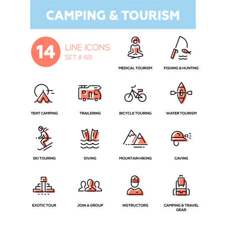 Camping and tourism in line design icons set.