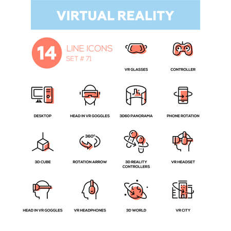 Virtual reality, line design icons set. Stock Vector - 95595313
