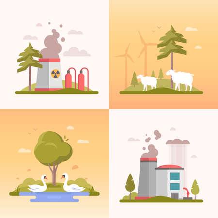 Eco lifestyle - set of modern flat design style vector illustrations.