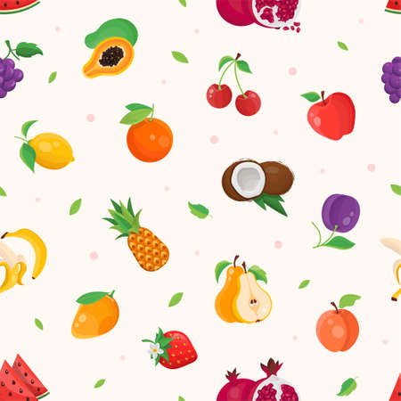 Fresh fruits - modern colorful seamless pattern.