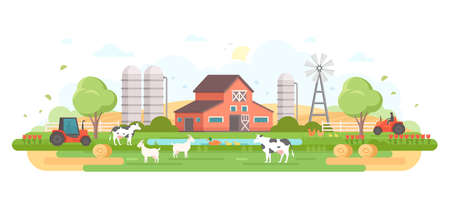 Farm - modern flat design style vector illustration. Çizim