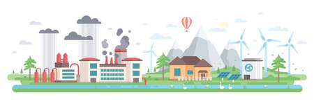 Air and water pollution - modern flat design style vector illustration. Illustration