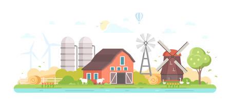 農業 - 現代のフラットデザインスタイルベクトルイラスト。