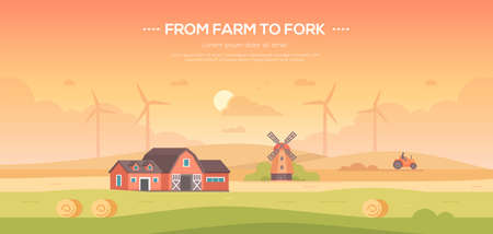 From farm to fork - modern flat design style vector illustration. Çizim