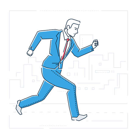 Businessman running - line design style isolated illustration.