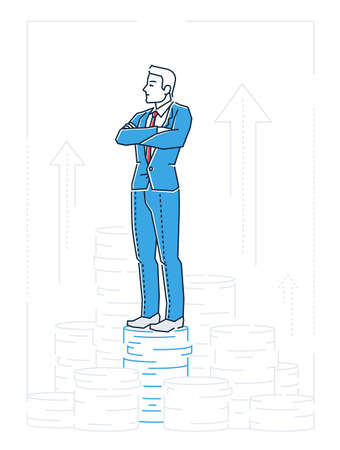 Businessman standing on coins - line design style isolated illustration.