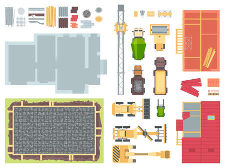 コンストラクション要素 - 現代のベクトルオブジェクトのセット。  イラスト・ベクター素材