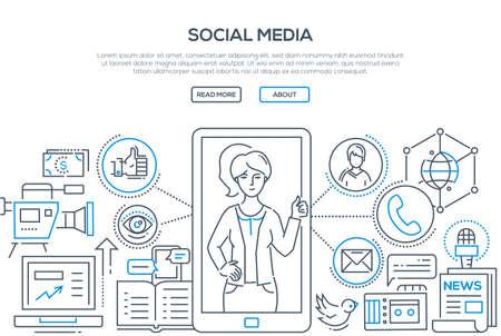 Social media - modern line design style illustration. Illustration