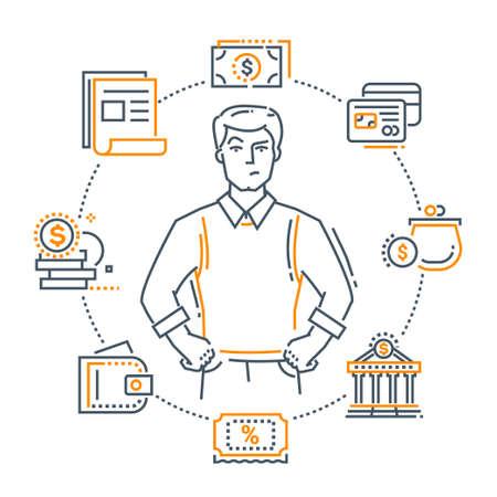 Money turnover - modern line design style illustration.