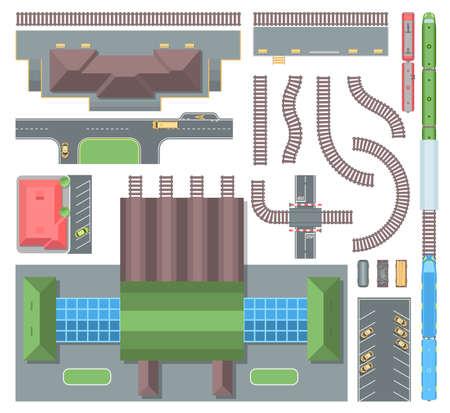 Railway elements - set of modern vector objects.