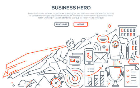 Business hero - modern line design style illustration.