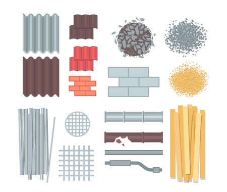 Construction materials set of modern vector elements