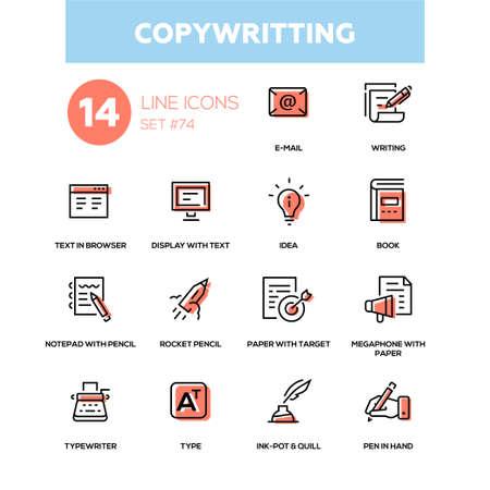 Copywriting line design icons set