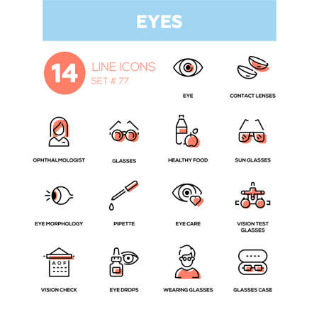 Eyes - line design icons set. High quality black pictogram. Contact lenses, ophthalmologist, healthy food, sunglasses, morphology, pipette, care, vision test glasses, check, drops, case.