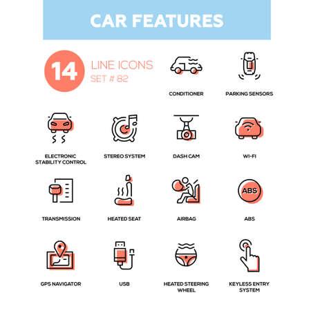 Car features line design icons set