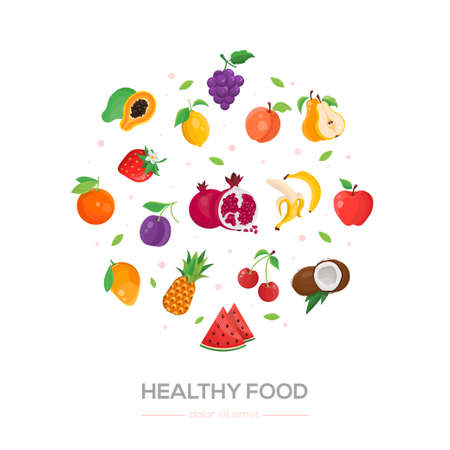Healthy food - modern colorful vector illustration on white background. High quality poster with fruit, banana, watermelon, cherry, apple, grape, coconut, lemon, strawberry, pineapple, pomegranate. Ilustração