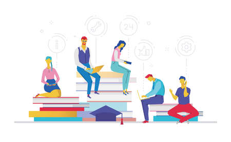 Business process flat design style colorful illustration