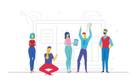 Teamwork flat design style colorful illustration