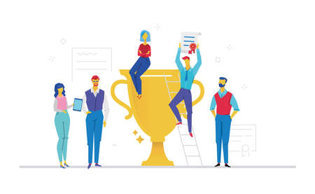 Colleagues celebrating victory flat design style colorful illustration Vectores