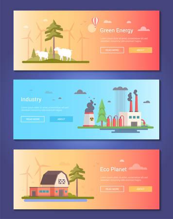Eco planet set of modern flat design style vector illustration set