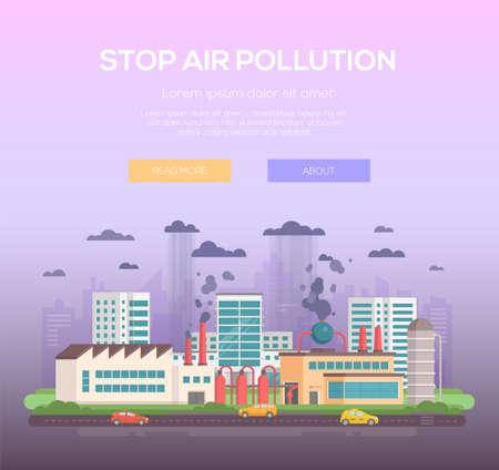 Stop air pollution modern flat design style vector illustration