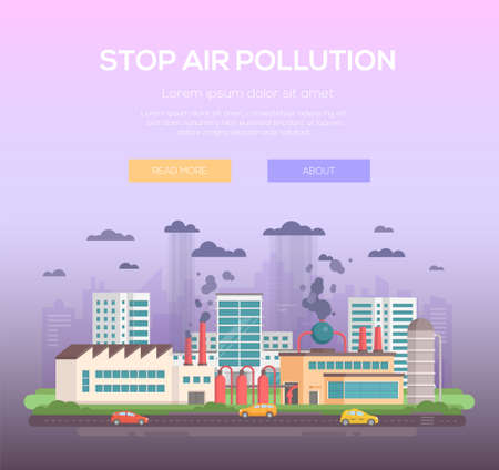 Stop air pollution modern flat design style vector illustration