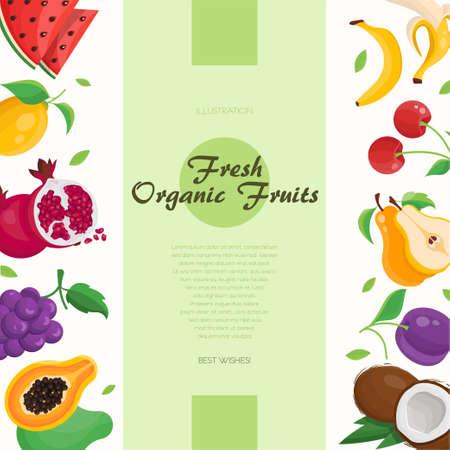 Fresh organic fruit modern colorful vector illustration Illustration