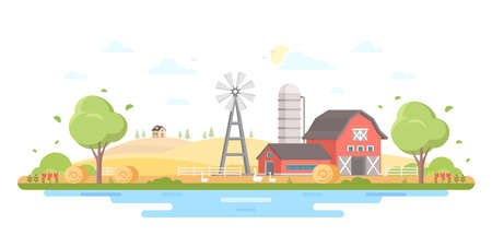 Country life modern flat design style vector illustration Archivio Fotografico - 95988937