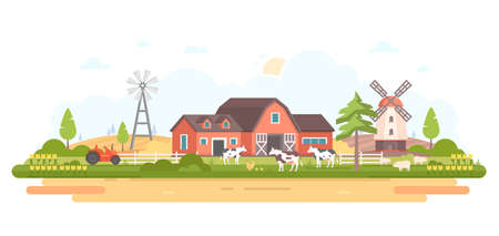 Country life modern flat design style vector illustration Illustration