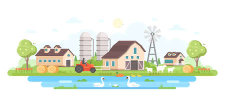 Country life modern flat design style vector illustration Çizim