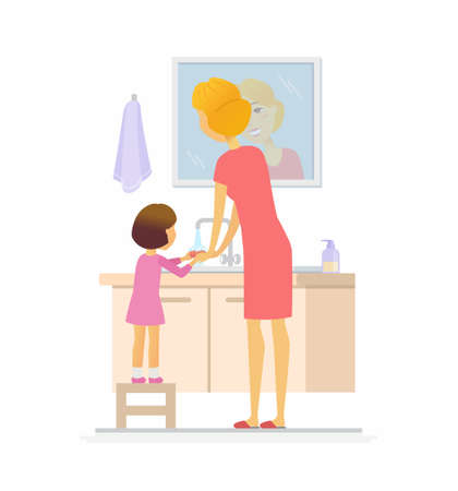 Girl washing her hands cartoon people character isolated illustration