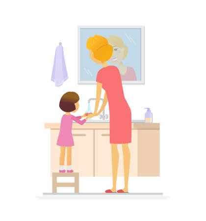Meisje die haar de mensenkarakter geïsoleerde illustratie wassen van het handenbeeldverhaal Stockfoto - 95988953