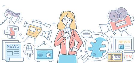 Mass media today - modern line design style illustration. Illustration