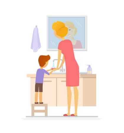 彼の手を洗う少年漫画の人々のキャラクター孤立したイラスト  イラスト・ベクター素材