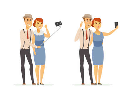 A couple making selfie - cartoon people character isolated illustration
