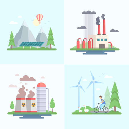 Ecology - set of modern flat design style vector illustrations