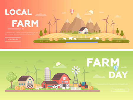 Local farm - set of modern flat design style vector illustrations