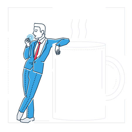 Businessman on a coffee break - line design style isolated illustration