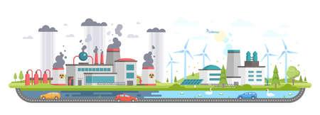 Vervuild en ecogebied - de moderne vlakke vectorillustratie van de ontwerpstijl Stockfoto