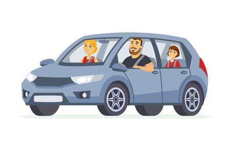 Familie in de auto - de geïsoleerde illustratie van beeldverhaalmensen karakter Vector Illustratie
